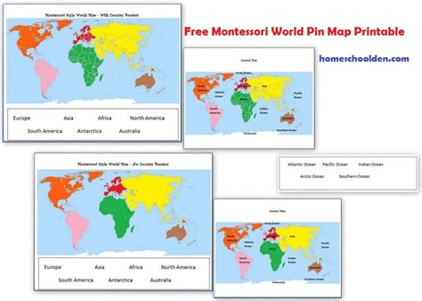 printable montessori pdf montessori geography activities free montessori world map