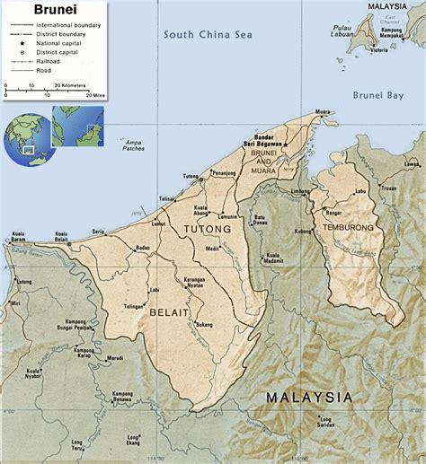 brunei map brunei map bandar seri begawan asia