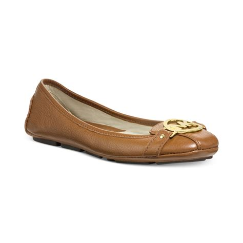 mk flats shoes michael kors michael wide width fulton moc flats in brown