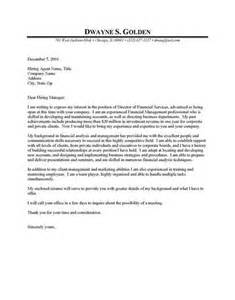 financial cover letters sle financial cover letter