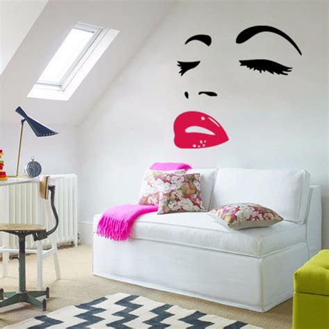 decals for home decor audrey hepburn sexy red lips living room bedroom wall