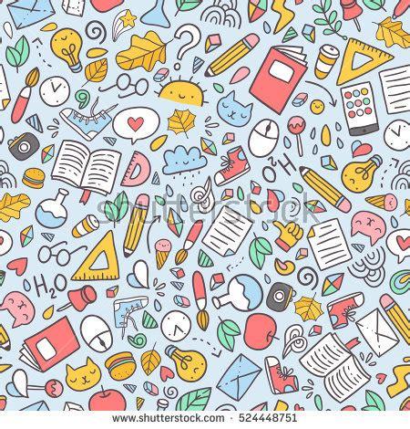 pattern school vector funny seamless pattern school supplies creative stock