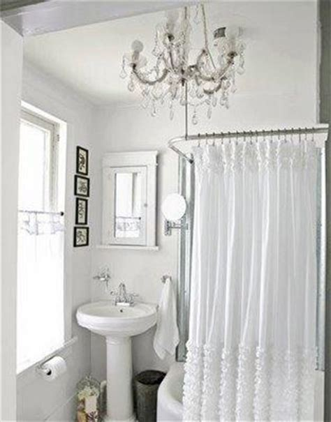 ruffled shower curtain cottage bathroom  lettered cottage