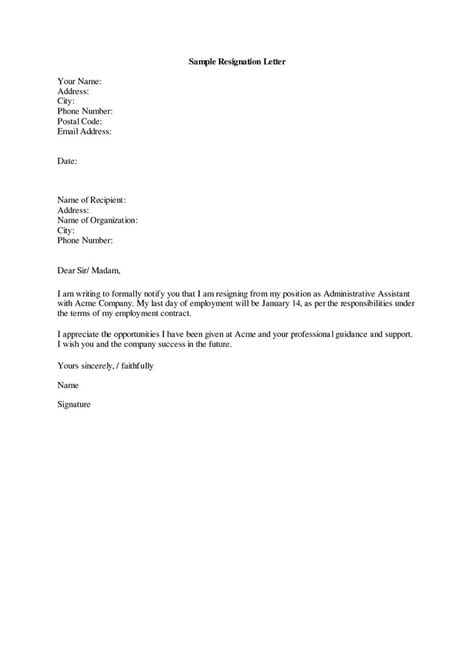 resignation letter template search employment