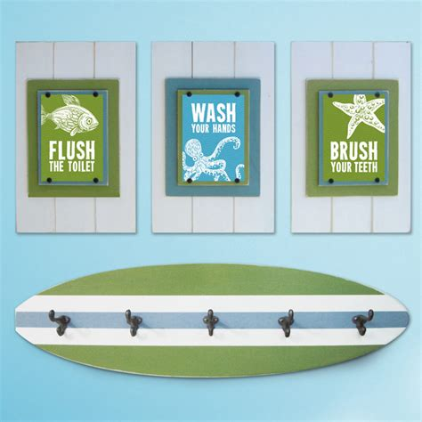 surf bathroom ideas kid s beach bathroom print set and surfboard towel rack