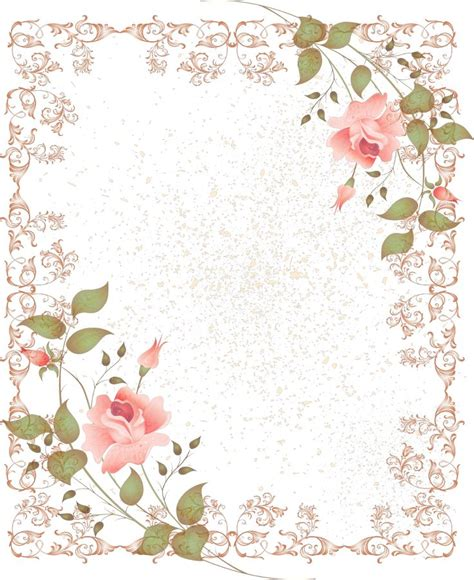 printable pink flowers retro style floral border picture frame png 1045 215 1280