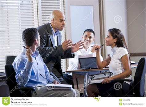 bureau manager manager meeting with office workers directing stock image