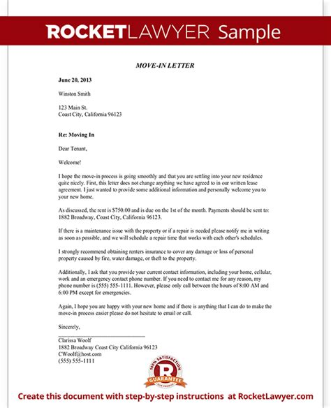 Moving Lease Letter Move In Letter To Tenant Move In Letter Template With Sle