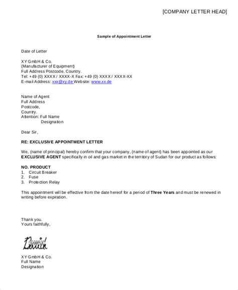 Insurance Broker Letter Of Appointment Sle Appointment Letter Sle Real Estate
