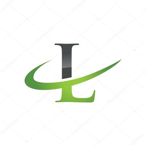 Green L Company by L Green Initial Company Swoosh Logo Stock Vector
