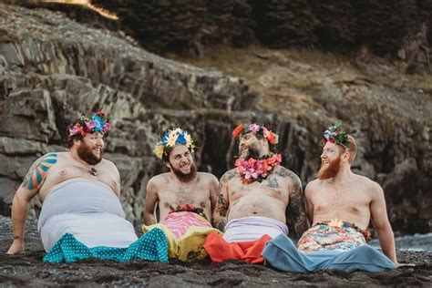 bearded mermen pose for a dudeoir style calendar for charity