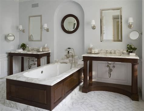 phoebe howard bathrooms marble herringbone floor transitional bathroom