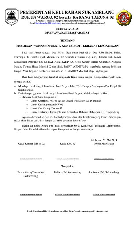Format Berita Acara Rapat by Berita Acara Hasil Rapat Tgl 23 Mei 2014 Tentang Perijinan