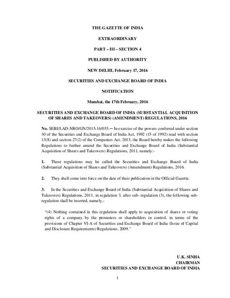Gazette Of India Part Iii Section 4 by Securities And Exchange Board Of India Substantial