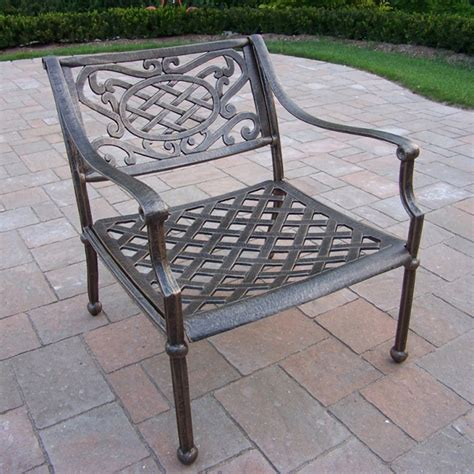 patio furniture tacoma oakland living tacoma cast aluminum arm chair antique bronze outdoor dining chairs at hayneedle