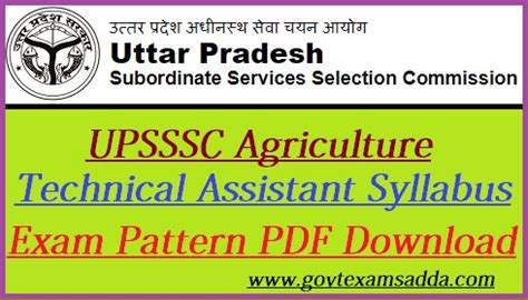 upsssc agriculture technical assistant syllabus