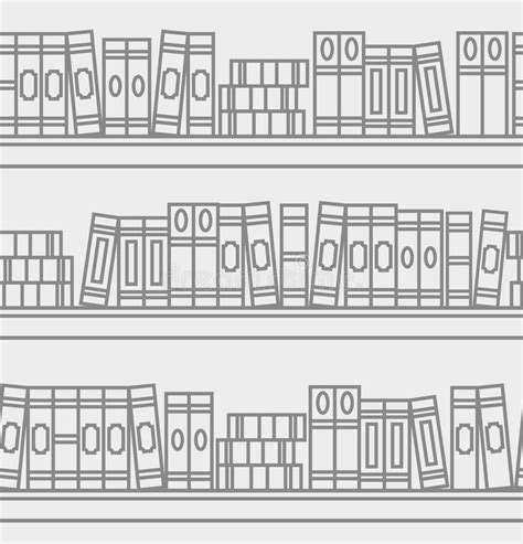 linear pattern of history seamless pattern with linear books on a bookshelf stock