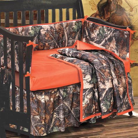 camo baby bedding sets camo bedding 4 piece orange and camo crib set camo trading