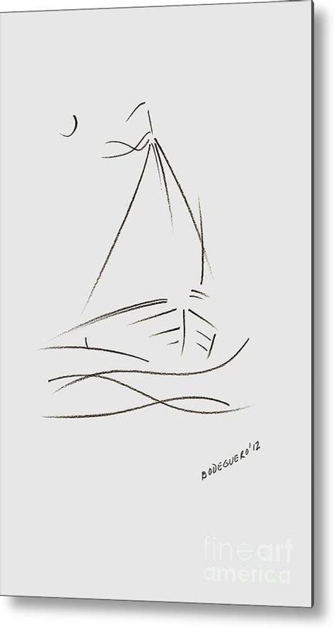 dessin bateau minimaliste simple sailboat drawing metal print by mario perez photo