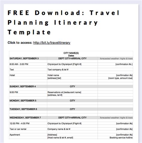 free travel templates free travel planning itinerary template