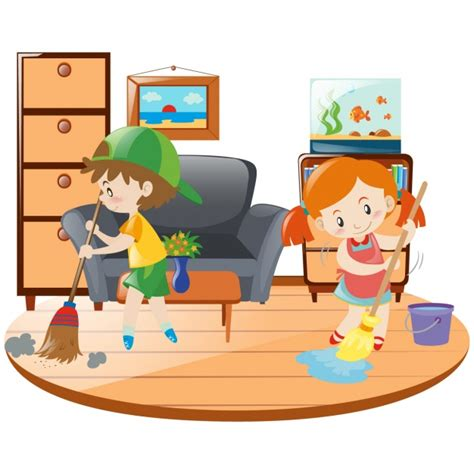 cleaning home kids cleaning the house vector free download