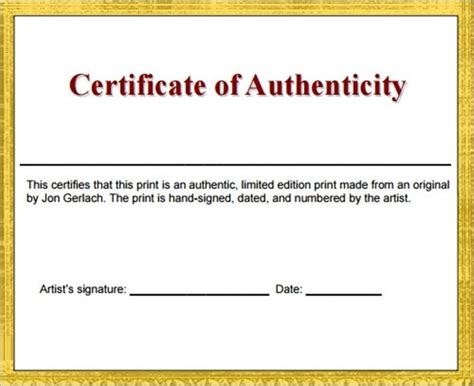 certificate of authenticity template great printable
