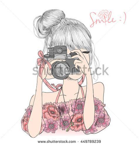 hand drawn beautiful cute girl floral stock vector