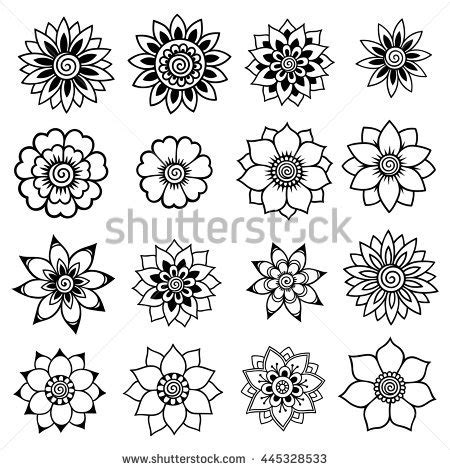 henna tattoo flowers mehndi set stock vector 445328533