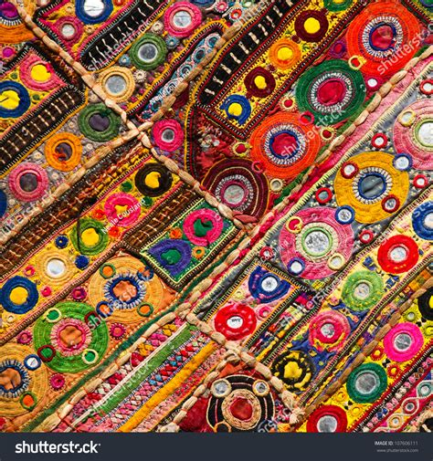 Indian Patchwork - patchwork quilt in jaisalmer india stock photo 107606111