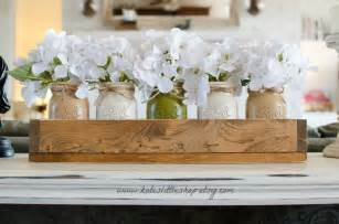home decor table centerpiece custom made rustic planter box with 5 painted jars
