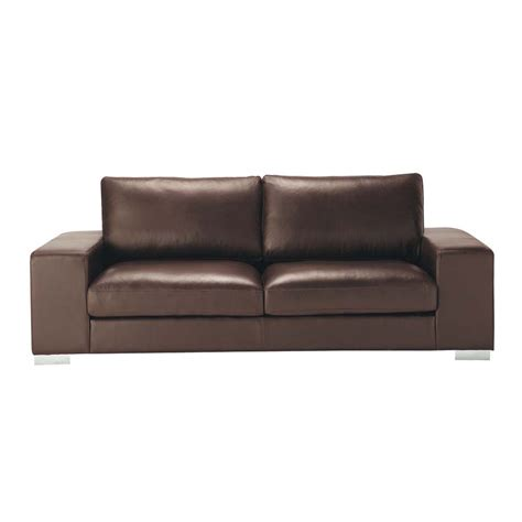 3 Seater Brown Leather Sofa by 3 4 Seater Leather Sofa In Brown New York Maisons Du Monde