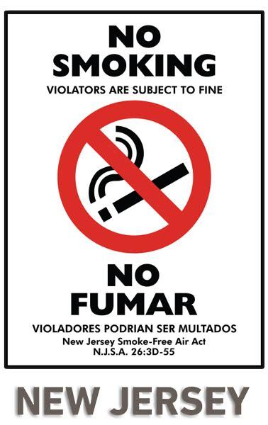 no smoking sign fine no smoking subject to fine no fumar bilingual nj smoke