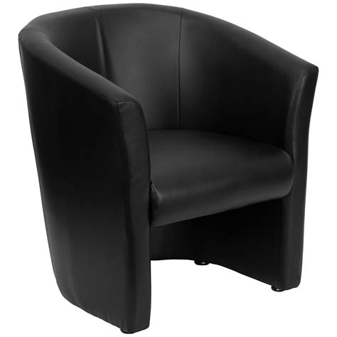 leathersoft upholstery flash black leather barrel shaped guest chair by oj