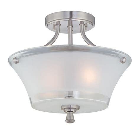 Glass Ceiling Ls by Illumine 2 Light Steel Semi Flush Mount Light With