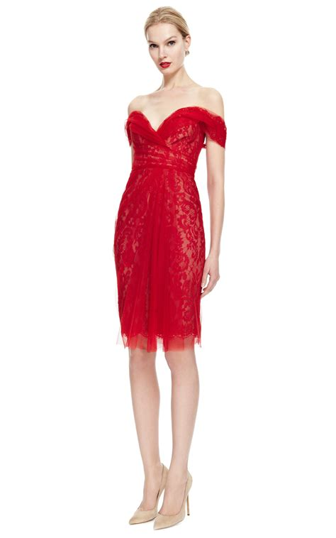 Marchesa Talent Or Connections by Marchesa The Shoulder Lace Cocktail Dress In Lyst