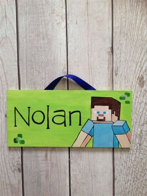 bedroom name signs minecraft name sign for kids room canvas crafts and craft