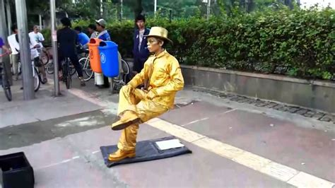 Without A Chair statueman sit without chair no magic trick
