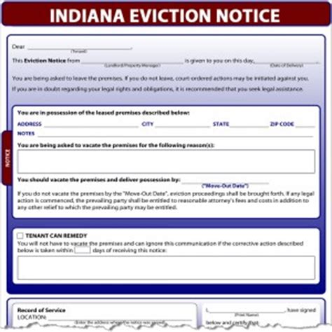 Indiana Eviction Notice Eviction Notice Template Indiana