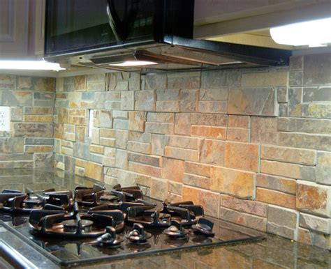 Stick On Backsplash Tiles by Natural Stone Back Splash Traditional Kitchen