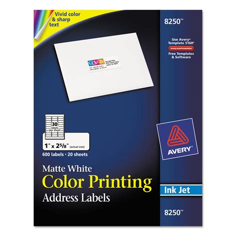 Avery Ave8250 Vibrant Color Printing Address Labels 1 X 2 5 8 Matte White 600 Pack Avery 1 X 2 5 8 Label Template