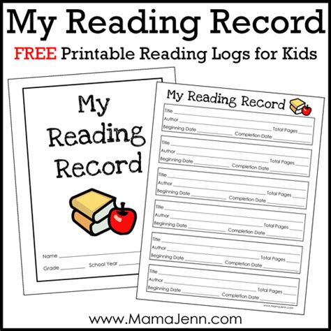 Free Printable Reading Log For