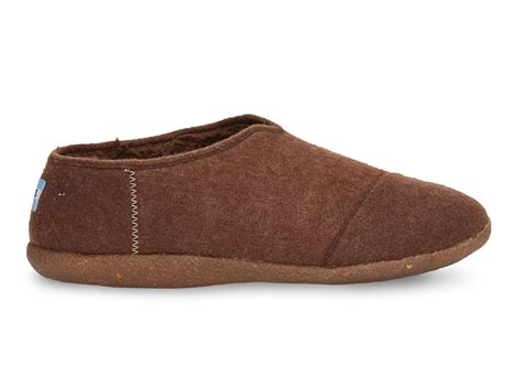 toms chocolate wool s slippers in brown for lyst
