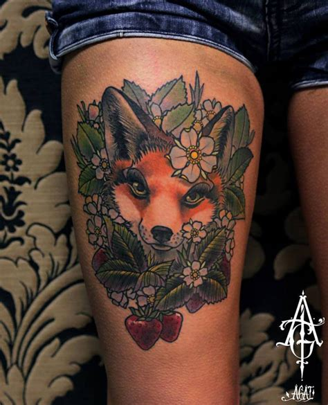 cute strawberry fox tattoo by agat artemji best tattoo