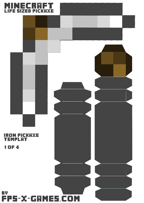 Paper Handcraft - minecraft iron pickaxe printable papercraft template cut