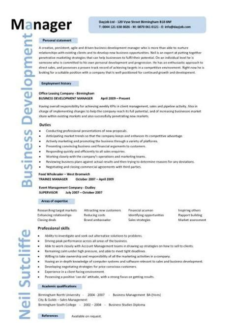 cv template for marketing job business development manager cv template managers resume