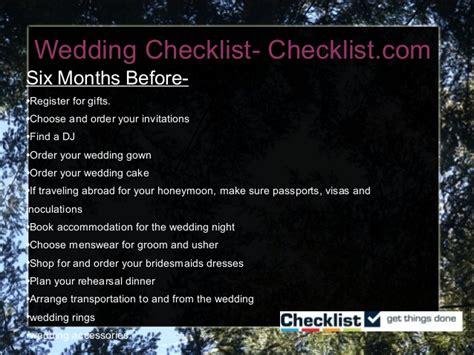 Wedding Usher Checklist by Wedding Checklist Slideshare