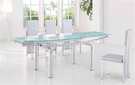 extendable frosted glass top leather dining furniture set
