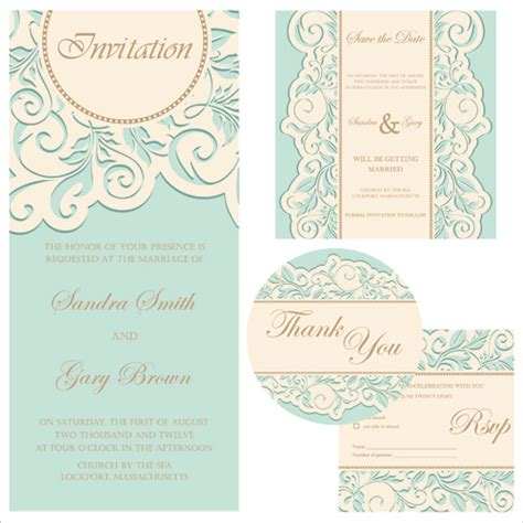 invitation card graphic design retro wedding invitation cards design free vector in