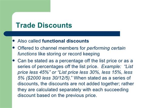Trade Credit Discount Formula M10 L6 Calculating Selling Price