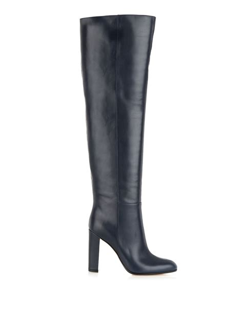 the knee leather boots lyst gianvito mattie the knee leather boots